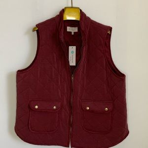 Skies are Blue Merlot Vest Sz 1X